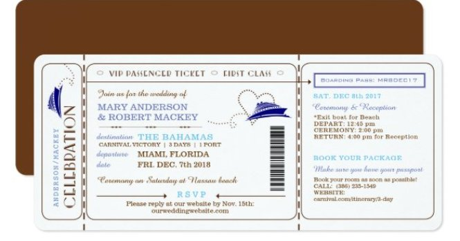 Boarding Pass Cruise Ticket Wedding Invitation Zazzle Com