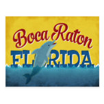 Boca Raton Florida Dolphin Retro Vintage Travel Postcard