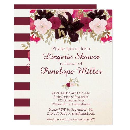 Bohemian Floral Lingerie Shower Invitation