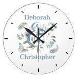 Bohemian Floral Watercolor Personalized Large Clock