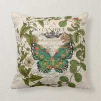 bohemian scripts french botanical butterfly throw pillow