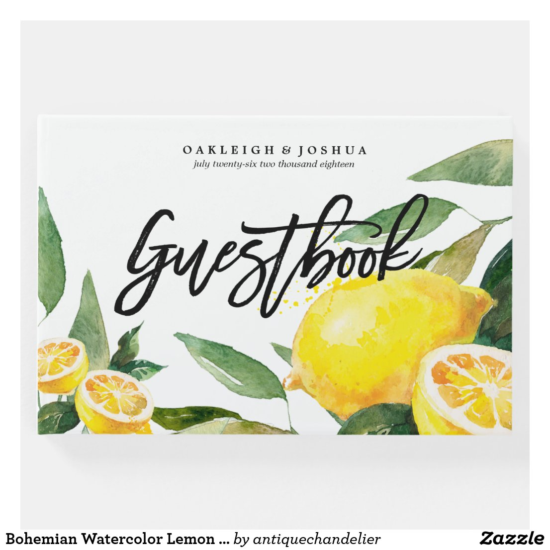 Bohemian Watercolor Lemon Wedding Guest Book