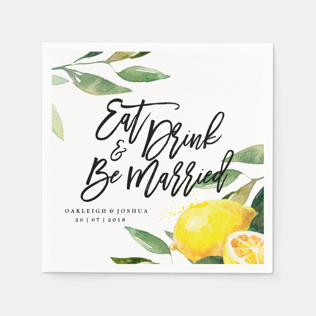 Bohemian Watercolor Lemon Wedding Napkin