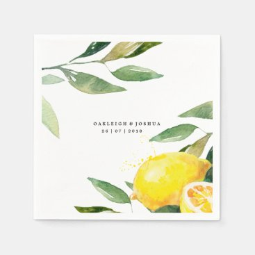 Bohemian Watercolor Lemon Wedding Napkin