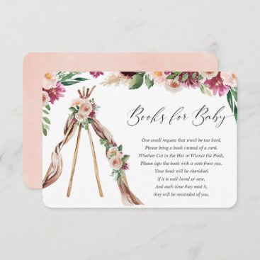 Boho bohemian floral teepee rustic books for baby enclosure card