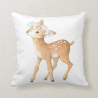Boho Deer Woodland Blush Baby Girl Nursery Pillow