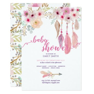 BOHO Floral Baby Shower Invitations Tribal Dreams