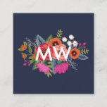 Boho Floral Bouquet - Navy Blue - Monogram Square Business Card