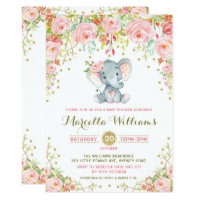 Boho Floral Elephant Invitation Pink Baby Shower