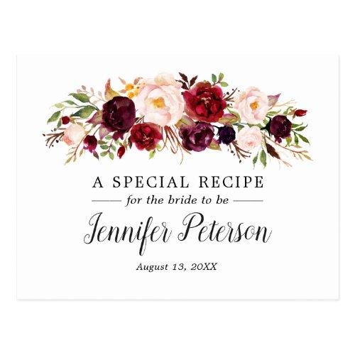 Boho Marsala Floral Bridal Shower Recipe Card