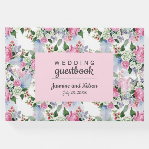 Boho Pink Blue flowers Wedding Personalized Flower Guest Book