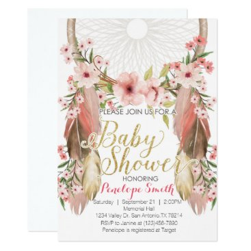 Boho Pink Gold Dreamcatcher Baby Shower Invitation