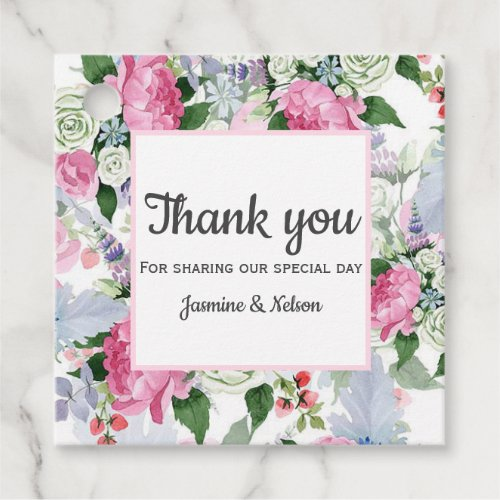 Boho Pink lavender blue flower thank you wedding Favor Tags