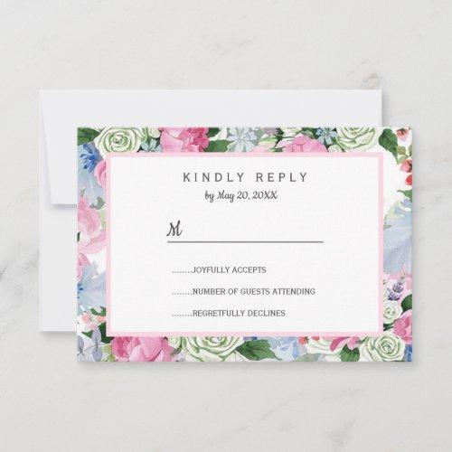 Boho pink lavender blue meadow lowers Wedding RSVP