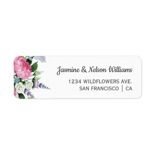 Boho Pink Lilac wildflowers wedding personalized Label