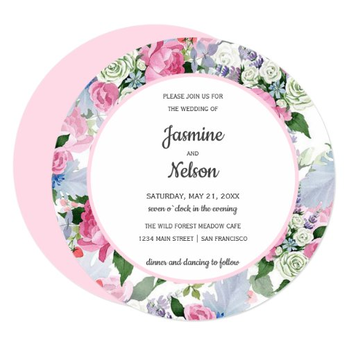Boho Rustic pink white lilac blue flowers wedding Invitation