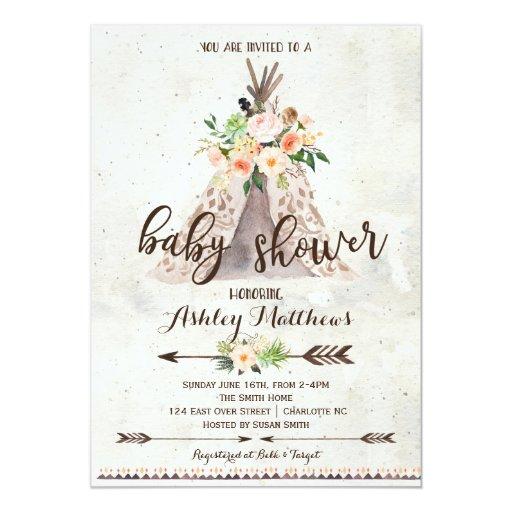 Boho TeePee baby shower invitation
