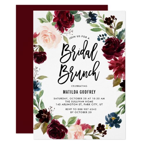 Boho Watercolor Autumn Floral Wreath Bridal Brunch Invitation