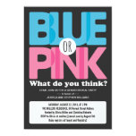 Bold Blue or Pink Baby Gender Reveal Party Invitation