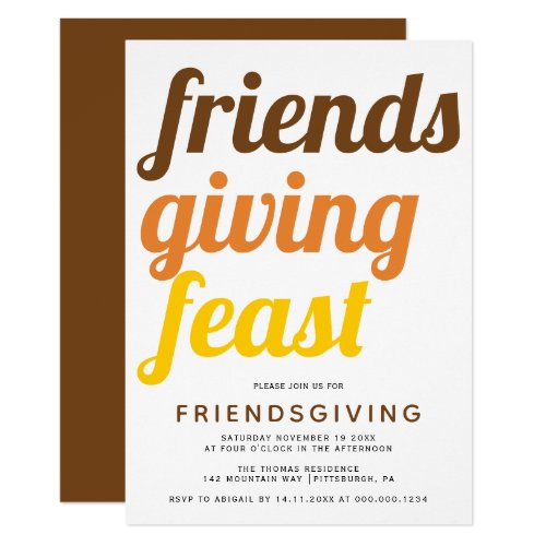 Bold typography Friendsgiving fall color Invitation