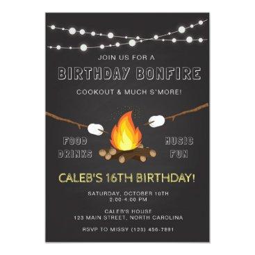 Bonfire Party Invitation, Birthday, Camp out Invitation