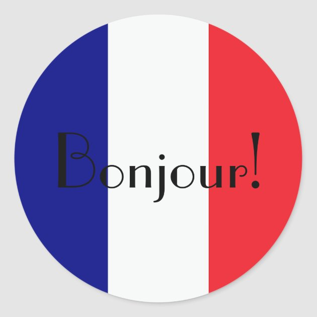 Bonjour With French Flag In Blue White And Red Classic