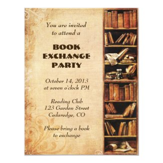 "Book Exchange Invitation 4.25"" X 5.5"" Invitation Card"