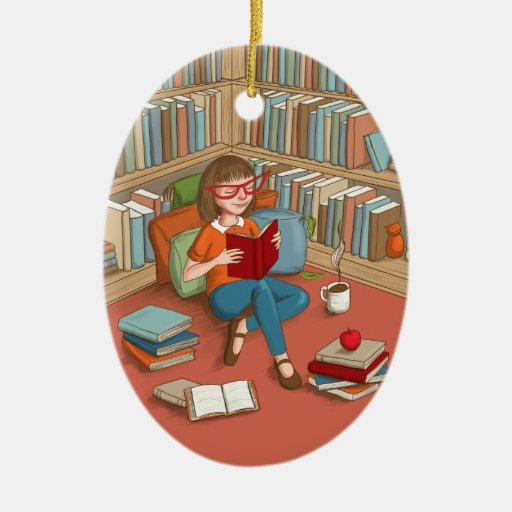 Book Lover sitting with her books Ceramic Ornament