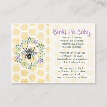 Books for baby card purple yellow girl baby shower