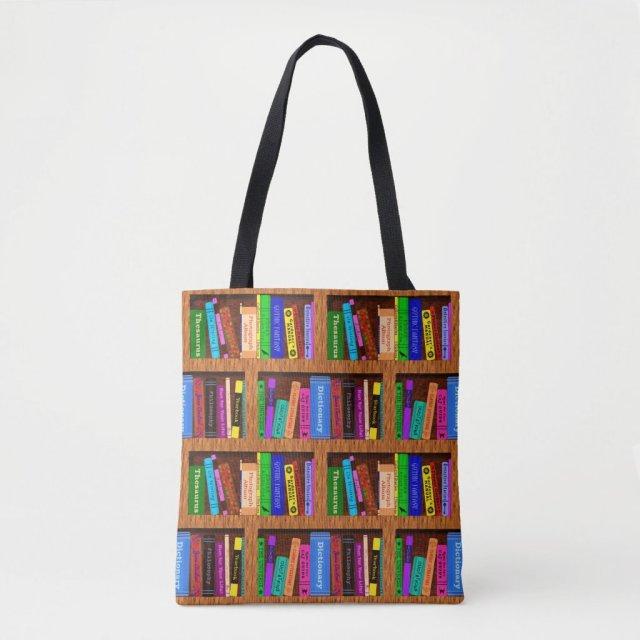 Books Library Bookshelf Pattern for Readers Tote Bag