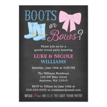 Boots or Bows Gender Reveal Party Baby Shower Invitation