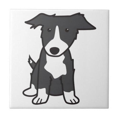 Border Collie Dog Cartoon Tile