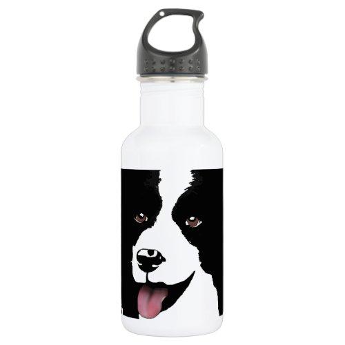 Border Collie Dog Pop Art Pet Customize Stainless Steel Water Bottle