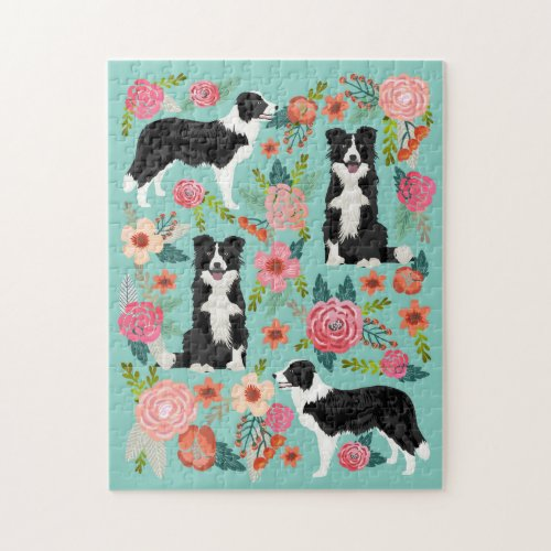 Border Collie Dog Vintage Florals Jigsaw Puzzle