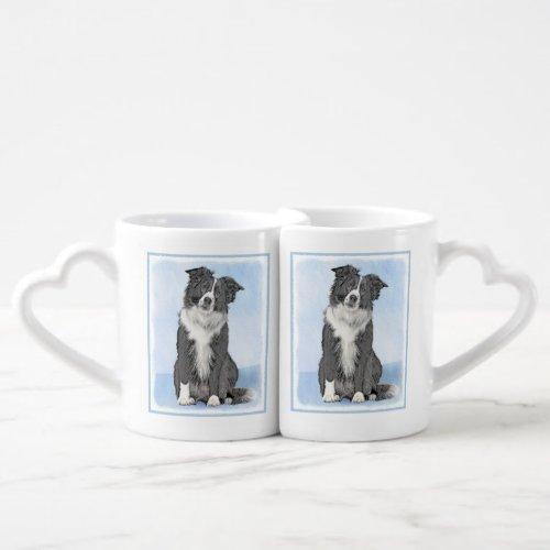 Border Collie Painting - Cute Original Dog Art Coffee Mug Set