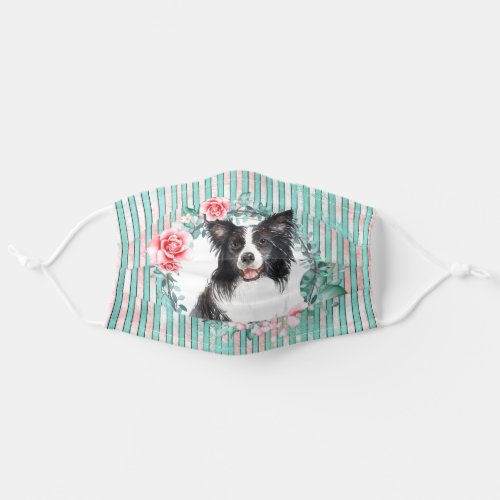Border collie pet dog face watercolor rose adult cloth face mask