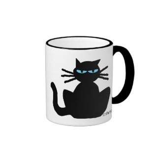 Black Cat with Blue Eyes Mug