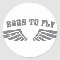 Born To Fly Wings Round Sticker