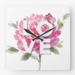 Botanical Chic Pink Floral Watercolor Love Script Square Wall Clock