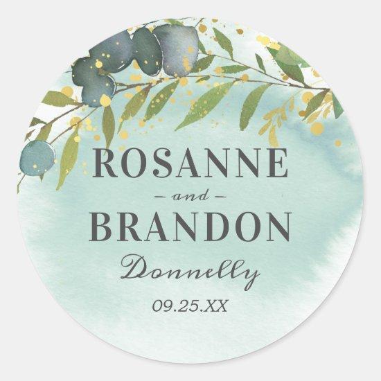 Botanical Green Gold Wedding Classic Round Sticker