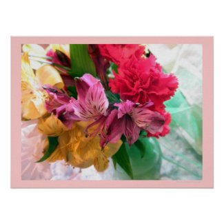 Bouquet in a Vase Flowers Floral Poster Print