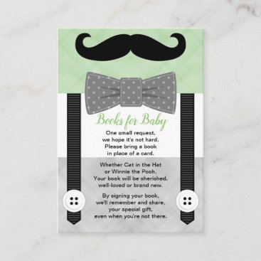bow tie baby shower boy green gray book request enclosure card