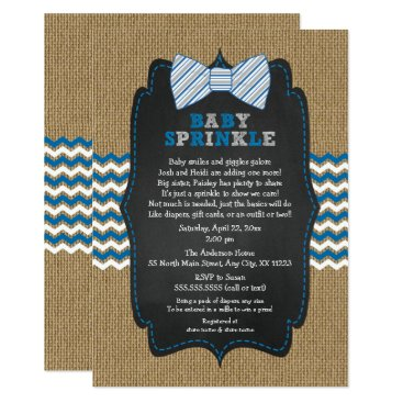 Bow Tie Baby Sprinkle invitations, boy baby shower Card