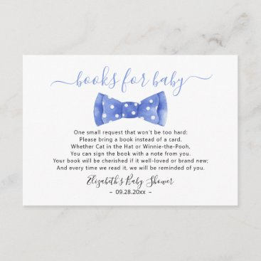 Bow tie Books for baby Baby Shower Enclosure Card