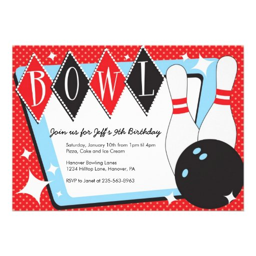 Bowling Party Invitation Template with pins zazzle 5 quot x 7 – Zazzle Party Invitations