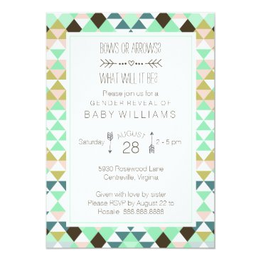 Bows or Arrows Tribal Gender Baby Reveal Invitation