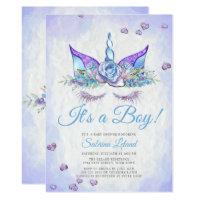 Boy Baby Shower Blue Fantasy Sleeping Unicorn Card