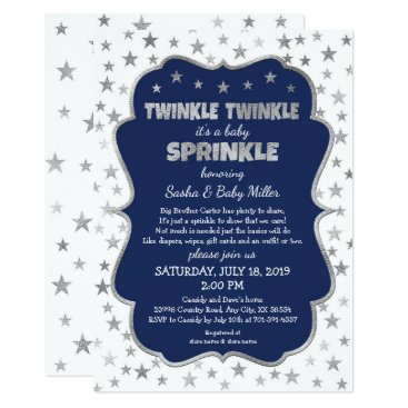 Boy Baby Sprinkle Invitations, navy silver stars Invitation