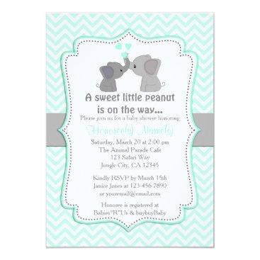 Boy Blue Elephant Baby Shower Invitations Chev 330