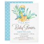 ❤️ Sweet Blue Dinosaur Baby Shower Invitation